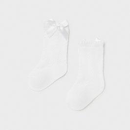 Socken - Strümpfe mit Lochmuster - Schleife - Feststutzen - weiß - Taufe & Festmode