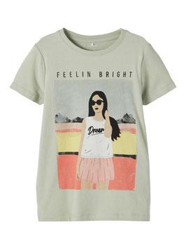 Shirt - kurzarm - kaki - orange - gelb - Girl - Motiv - NAME IT KIDS MÄDCHEN