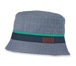Kopfbedeckung - Sommer - Sonnenhut - blau mit grünen Streifen - UV-Schutz 50 + Sterntaler