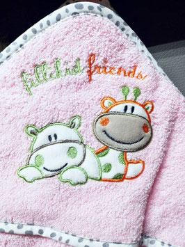 Badetuch - Set 2-teilig - Kapuzen-Badetuchset rosa - fillilid Friends- Schildkröte - Öko-Tex zertifiziertes Frottee