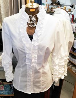 Bluse - Tracht Damenbluse Tracht mit Rüschen - weiß