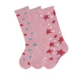 Kniestrumpf 3er-Pack Aktion rosa mit Herzen - Kinderstutzen - Sterntaler