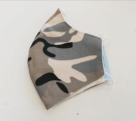 Mund-Nasen-Maske - camouflage - grau - für Kinder ab 8 Jahre geeignet