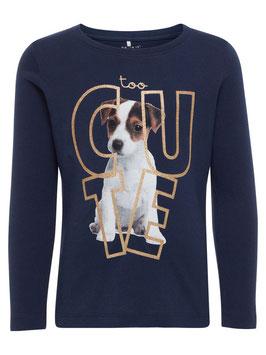 Shirt mit Hund - blau - NAME IT MINI MÄDCHEN