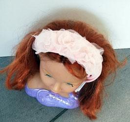Kopfbedeckung - Stirnband - lachs - festlich mit 3 großen Rosenblüten -  dehnbar - Festmode