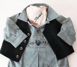 Tracht - Hemd - Pfoadl in grün - kariert -Babytracht - Kindertracht für Buben