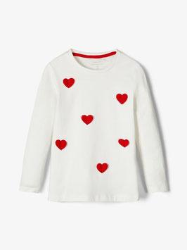 Shirt - Herzerl Shirt - weiß - rote Herzen - NAME IT MINI MÄDCHEN