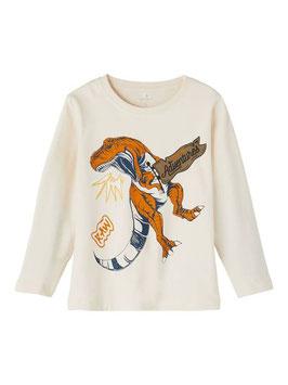 Shirt - Dinoprint - langarm - konjak - ivory - NAME IT MINI JUNGEN
