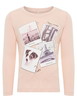 Shirt - mit Hundmotiv - evening sand - NAME IT MINI MÄDCHEN
