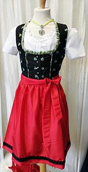 Tracht - Teenie Dirndl - Teenagerdirndl - Jugenddirndl - schwarz mit Blumen - grün - rot -  Tracht Mädchen