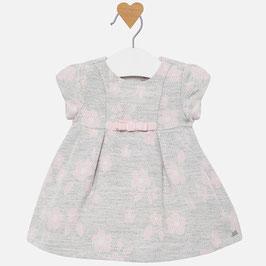 Kleid - Mädchenkleid Jacquard Blumen Baby - rosa grau - Taufe - Festmode