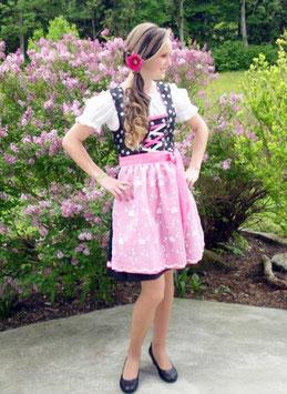 Teenie Dirndl - pink - schwarz  mit Edelweiß - Tracht Mädchen