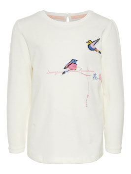 Shirt bestickt Vogel hell