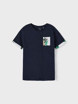 Shirt - kurzarm - Armmotiv am Shirtrand - marine - Blume - NAME IT  KIDS JUNGE