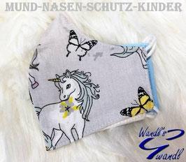 Mund-Nasen-Maske-Kinder - Einhorn - grau - Schmetterling
