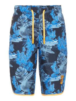 Badeshort lang blau mit Palmen