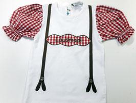 Tracht - Shirt - Lausmadl Shirt - weiß - rot - Tracht Mädchen