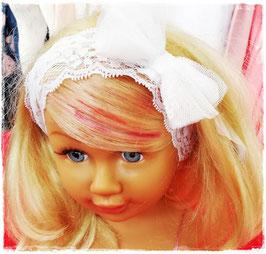 Kopfbedeckung - Stirnband - weiß - Spitzen Stirnband mit großer Masche  - Taufe - Festmode