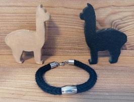 Armband aus Alpakawolle - schwarz - Nr. 1