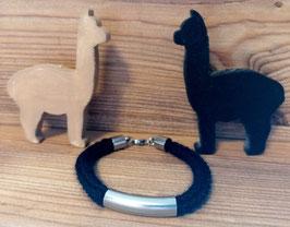 Armband aus Alpakawolle - schwarz - Nr. 2