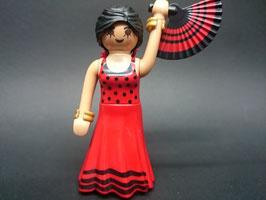 PLAY.FIG15.B5799.6845 Figura Mujer Vestido Flamenco Rojo Abanico Negro