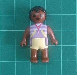 PLAY.T60.C712.1170 Bebe pelo negro piel marron traje baño morado/amarillo
