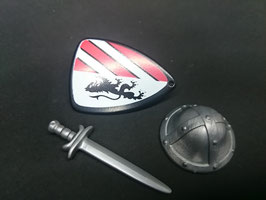 Play. MOD.LOT01.A7.01 SET ARMAS MEDIEVAL CASCO ESCUDO NEGRO ESPADA