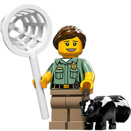 LEGO 71011 MINIFIGURA SERIE 15 Nº 08 CUIDADORA ANIMALES CON MOFETA