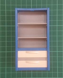 PLAY.GREY02.25.3173 Estanteria Azul con cajones blancos