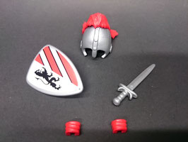 Play. MOD.LOT01.B1.1 SET ARMAS MEDIEVAL CASCO PLUMAS ROJAS II