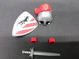 Play. MOD.LOT01.A2.0 SET ARMAS MEDIEVAL CASCO PLUMAS ROJAS I