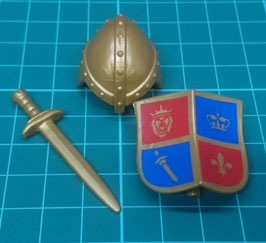 Play.MOD.LOT01.C4599.6379 SET ARMAS MEDIEVAL GOLD CASCO ESCUDO ESPADA