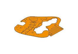 PLAY.GREY05.0024.5822 BASE mina, con muescas para pista, roca, rampa, aberturas para rocas