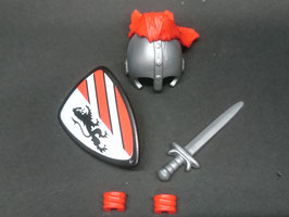 Play. MOD.LOT01.B6.3 SET ARMAS MEDIEVAL CASCO PLUMAS ROJAS III