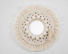 Petit miroir rond en corde de coton, miroir en macramé PALOMA écru  et lurex.