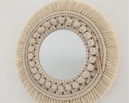 Miroir rond en macramé PALOMA écru .