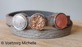 Leren armband concrete grey