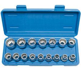 Steckschlüssel-Einsätze 12,5 (1/2), 8-24 mm, 12-kant, 16-tlg (Art.2226)