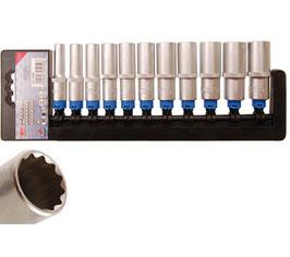 Steckschlüssel-Einsatz-Set, tief, 12-kant, 10 (3/8), 11-tlg. (Art. 5252)