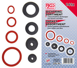 Dichtring-Sortiment: Gummi, Fiber, Klingerith, 141-tlg (Art.8059)