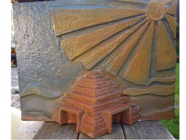 Rückwand für Feuchtraumterrarium Motiv Pyramide