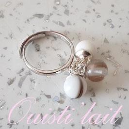 Bague réglable avec perle contenant votre lait maternel (B08)
