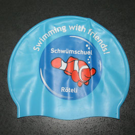 Badekappe bedruckt Schwümschuel Röteli