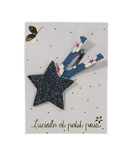 Barrette clip étoile filante marine pailletée et liberty Mitsi indigo
