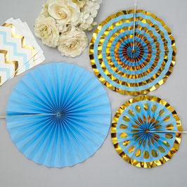 3 rosaces bleu pastel et dorées