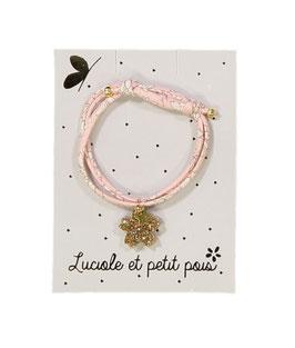 Bracelet en tissu Liberty rose capel avec 2 bijoux