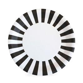 12 grandes assiettes avec bord rayé blanc noir