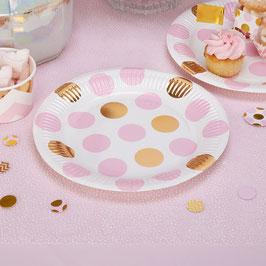 8 assiettes pois dorés et roses
