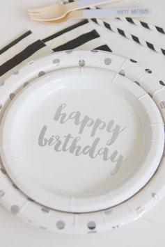 "12 petites assiettes blanches écritures ""Happy Birthday"" argent"