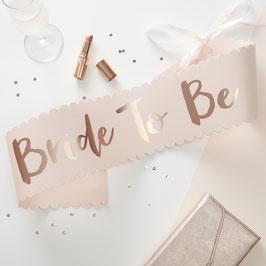 """Echarpe de future mariée """" Bride to be """" rose pastel écriture rose gold pour evjf"""